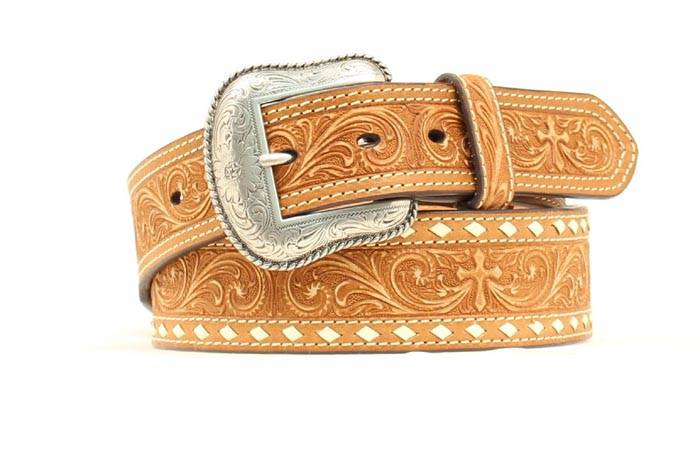 Nocona Men's Tooled Floral & Cross Belt with Stitching