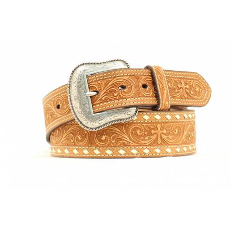 Nocona Mens Tooled Floral & Cross Belt with Stitching