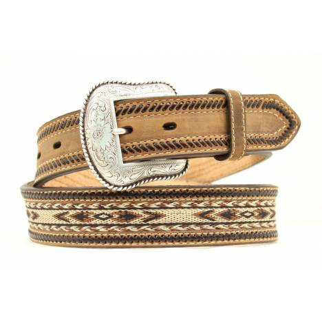 Nocona Mens Ribbon Inlay & Laced Edge Belt