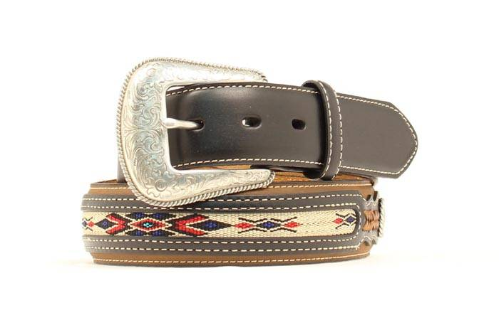 Nocona Mens Top Hand Leather Belt with Inlaid Weaving