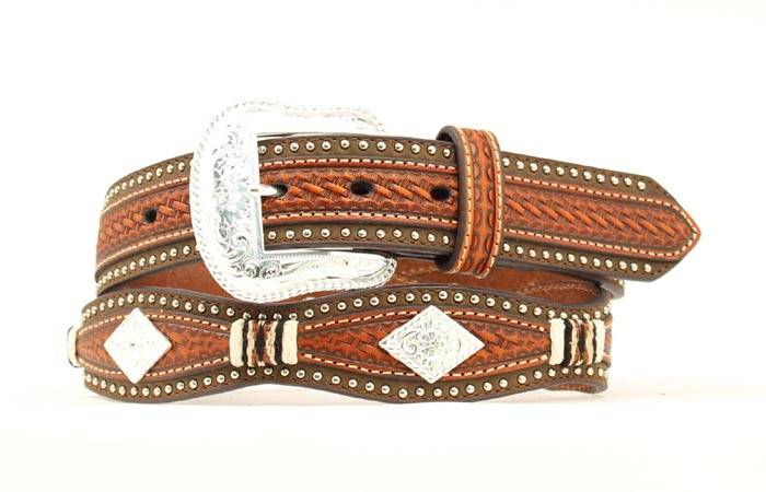 Nocona Mens Scalloped Basketweave Diamond Concho Belt