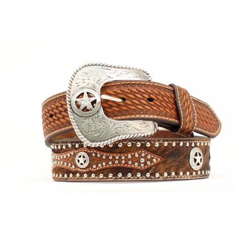 Nocona Mens Calf Hair Studded and Concho Belt
