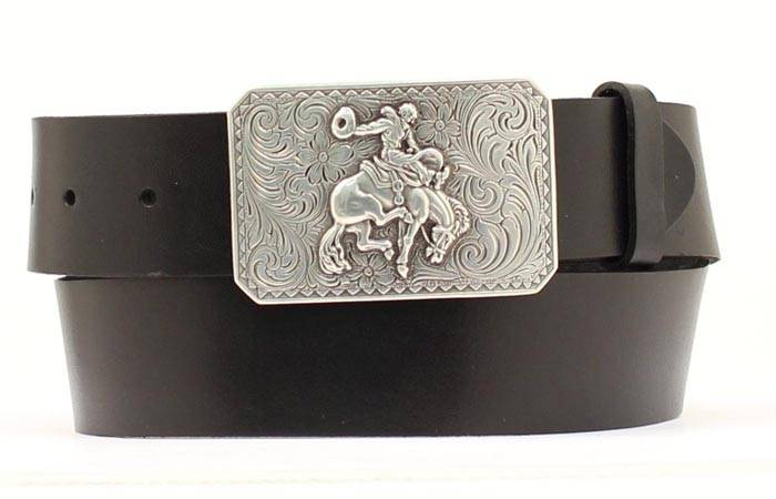 Nocona Mens Belt with Bronc Buckle