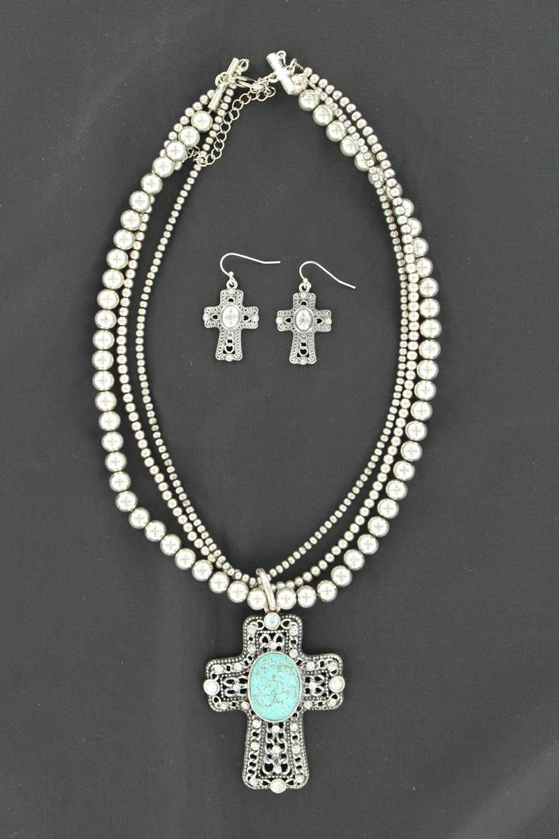 Blazin Roxx Cross /Beads Necklace and Earring Set