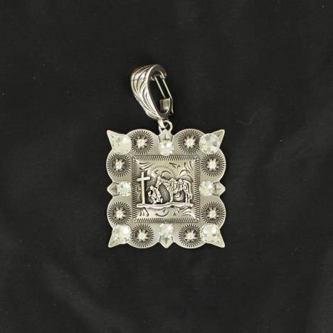 Western Charm Cowboy Cross Printed Square Pendant