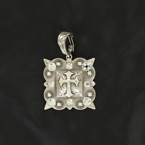 Western Charm Cross Printed Square Pendant