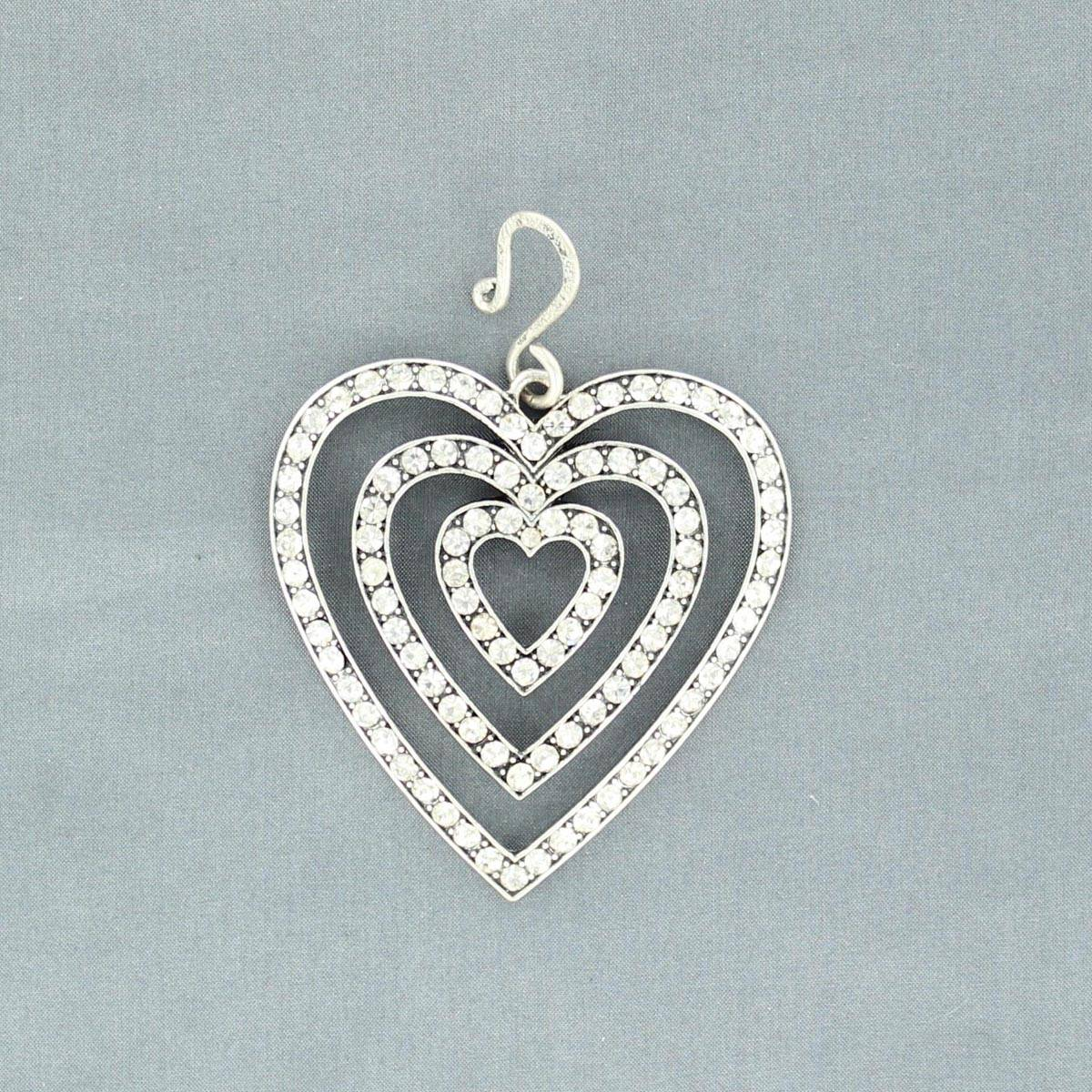 Western Charm LayeredHeart with Crystals Hook Pendant