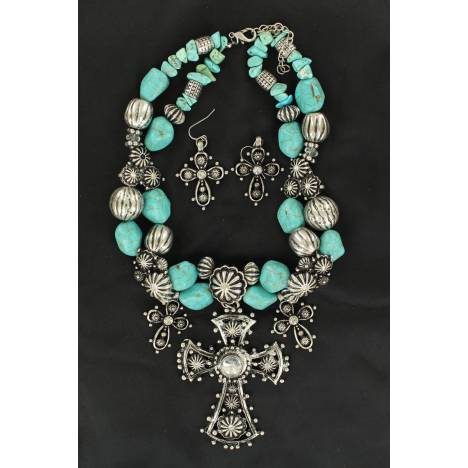 Blazin Roxx 3 Crosses and Flowers Necklace and Earrings Set