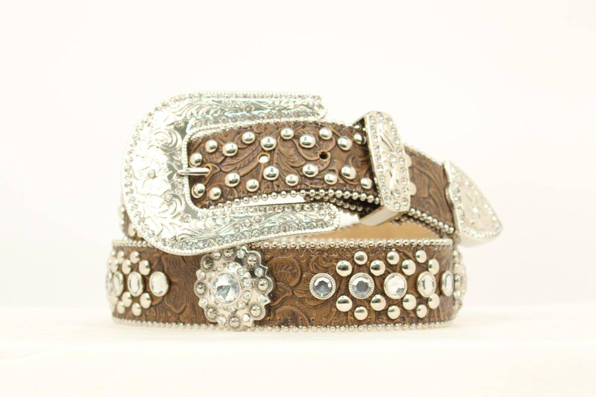 Blazin Roxx Ladies Leaf Pattern and Bling Belt