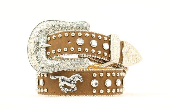 Nocona Girls Running Horse & Crystal Belt