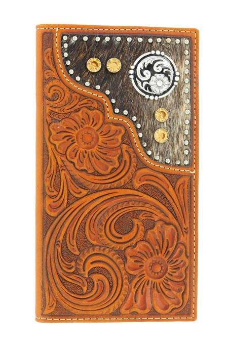 Nocona Mens Rodeo Floral Tooled Wallet