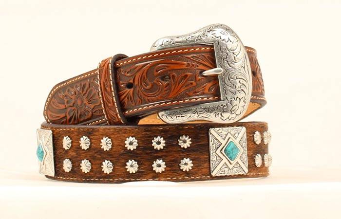 Nocona Mens Calf Hair Square Concho Belt