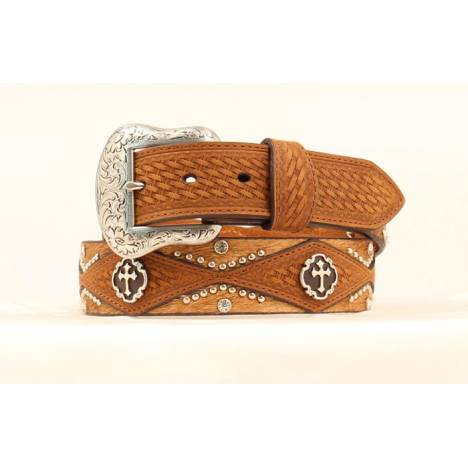 Nocona Mens Basket Weave, Studding and Cross Concho Belt