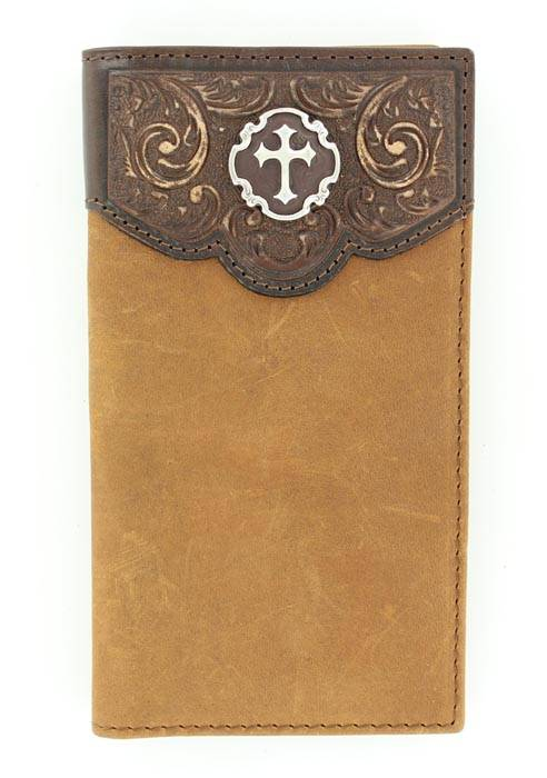 Nocona Mens Rodeo with Tooled Overlay Cross Concho