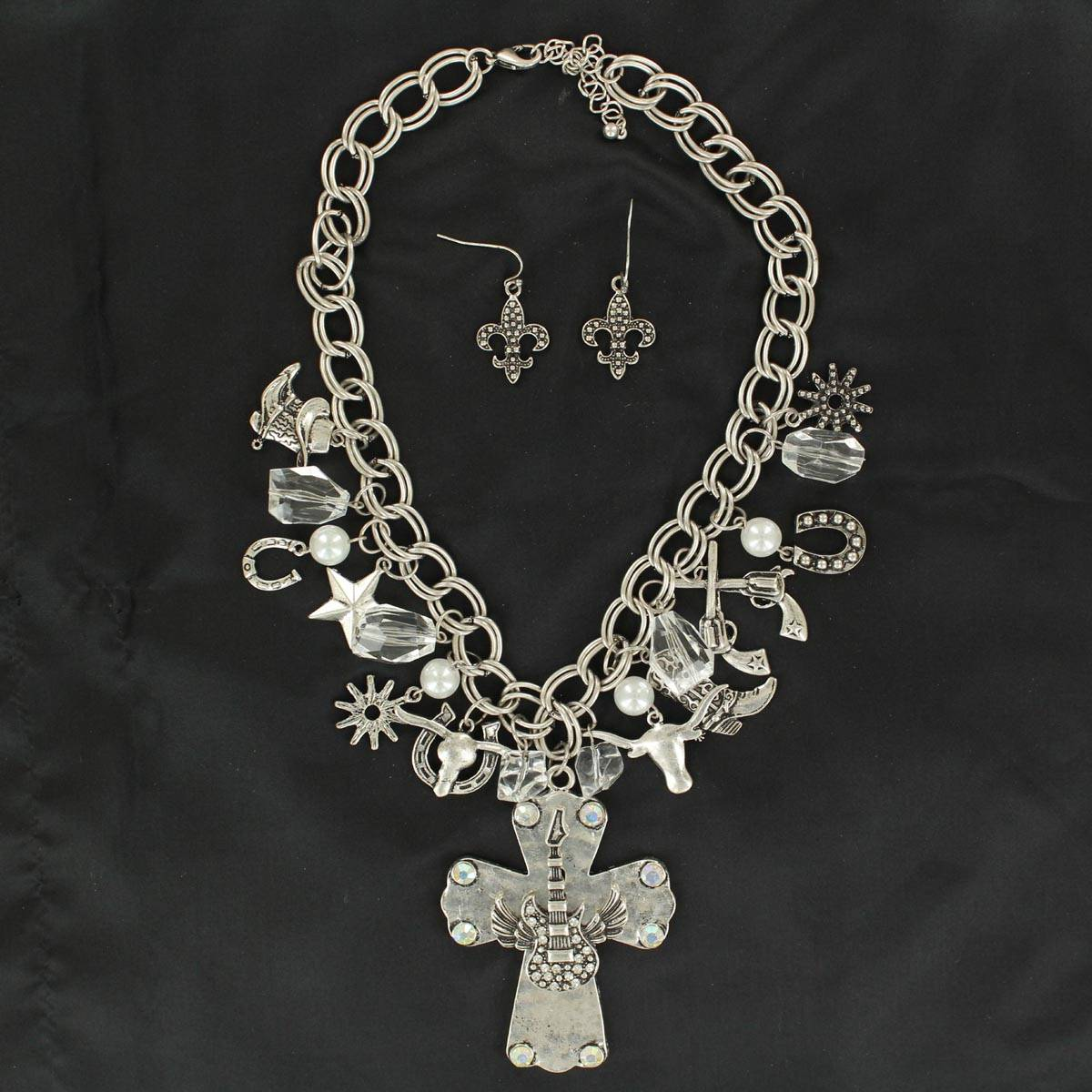 Blazin Roxx Cross with Guitar and Charms Necklace and Earrings Set