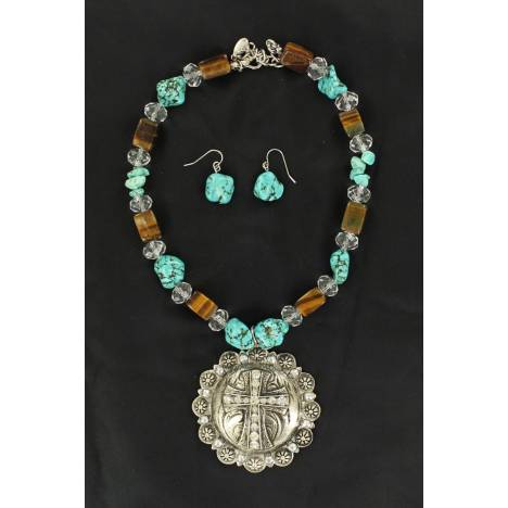 Blazin Roxx Concho with Cross and Stone Necklace and Earrings