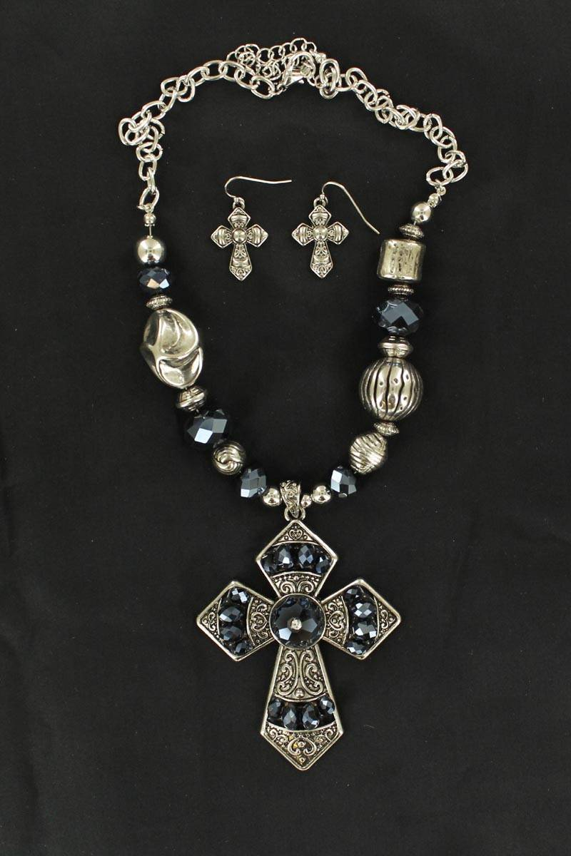 Blazin Roxx Bead and Cross Necklace and Earrings Set