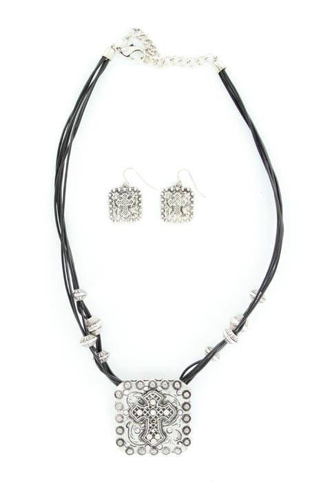 Blazin Roxx Square Cross Pendant and Earring Set