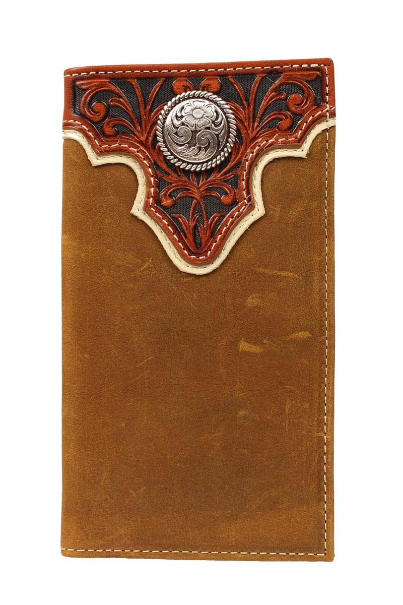 ARIAT Men's Rodeo Wallet/Checkbook Cover with Tooled Overlay