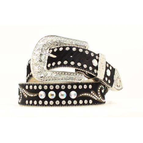 Nocona Ladies Calf Hair Belt with Rhinestone Conchos