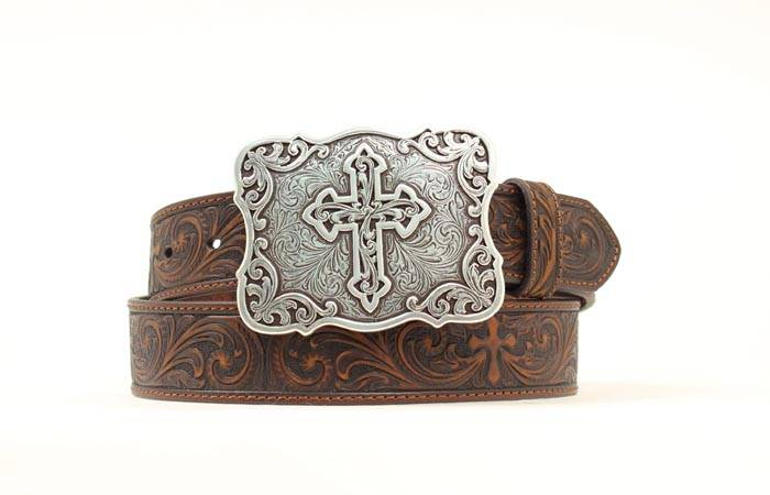 Nocona Ladies Tooled Cross & Scrolls Belt