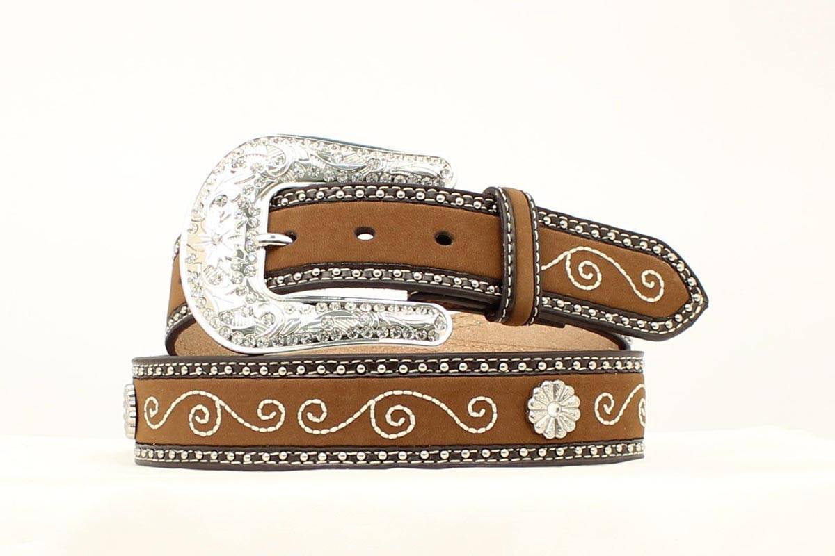Nocona Ladies Embroidered Flower Concho Belt