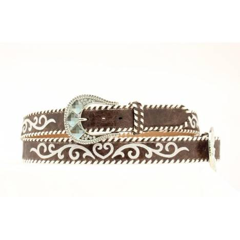 Nocona Ladies Embroidered White Stitched Belt