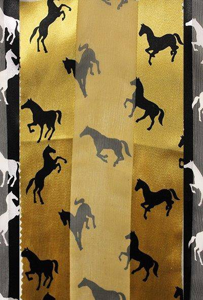 Two-Tone Horse Silk-Feel Scarf