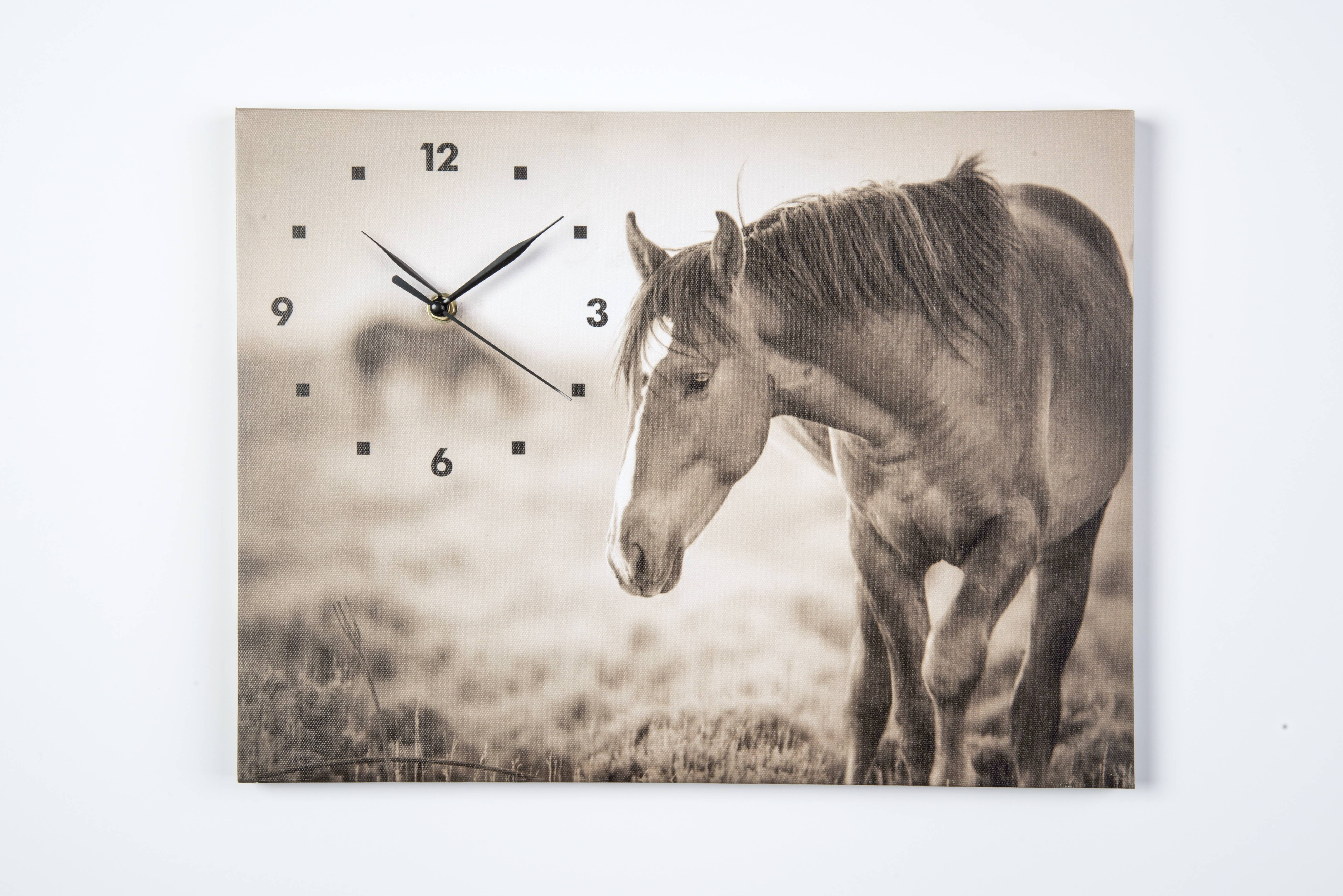 Wild Mustang Canvas Clock