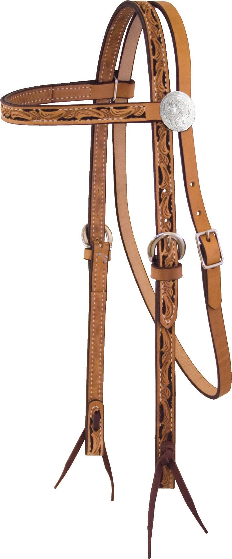 Billy Cook Saddlery Antique Floral Tooled Browband Headstall