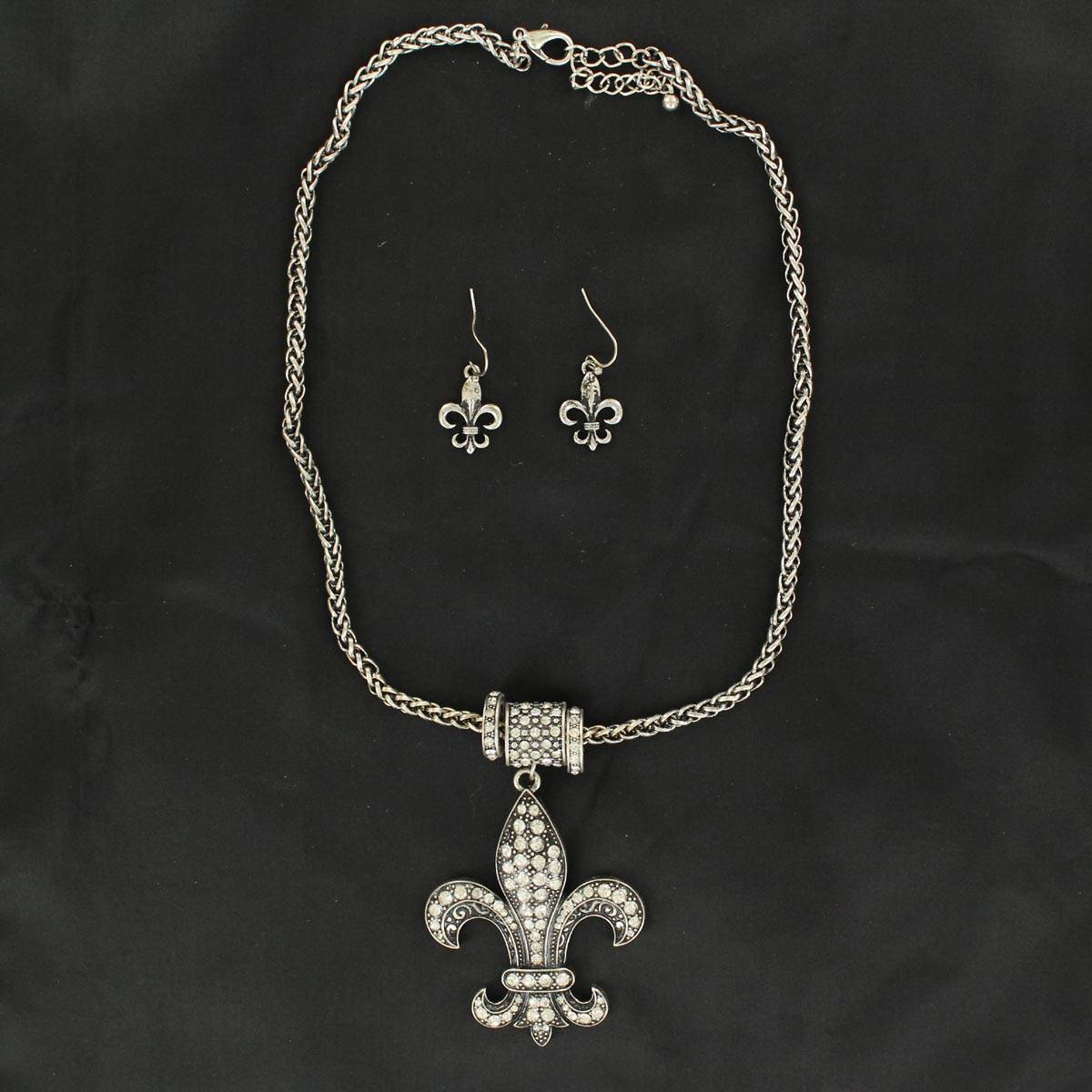 Blazin Roxx Fleur Chain Necklace and Earrings Set
