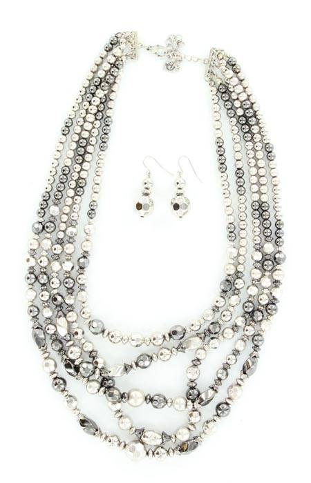 Blazin Roxx 5 Strand Bead Necklace and Earrings Set