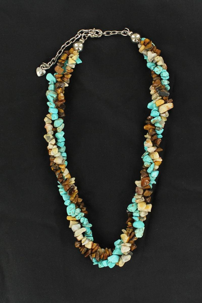 Western Charm Triple Twist Stone Necklace
