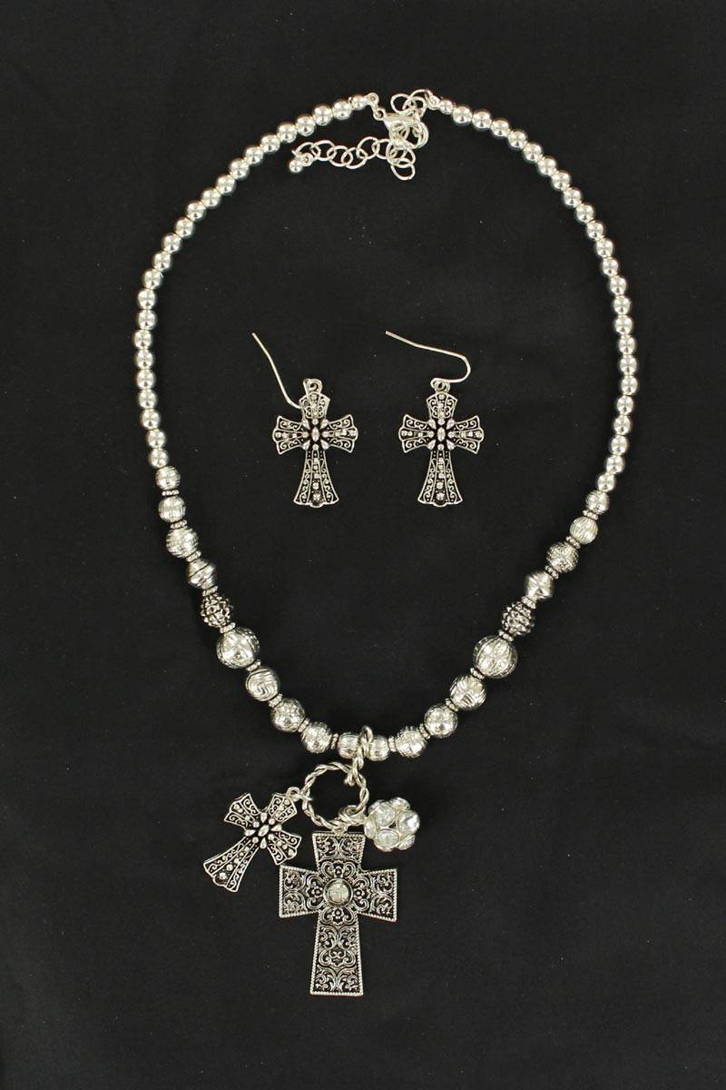 Blazin Roxx Bead/Crystal Double Cross Necklace Set
