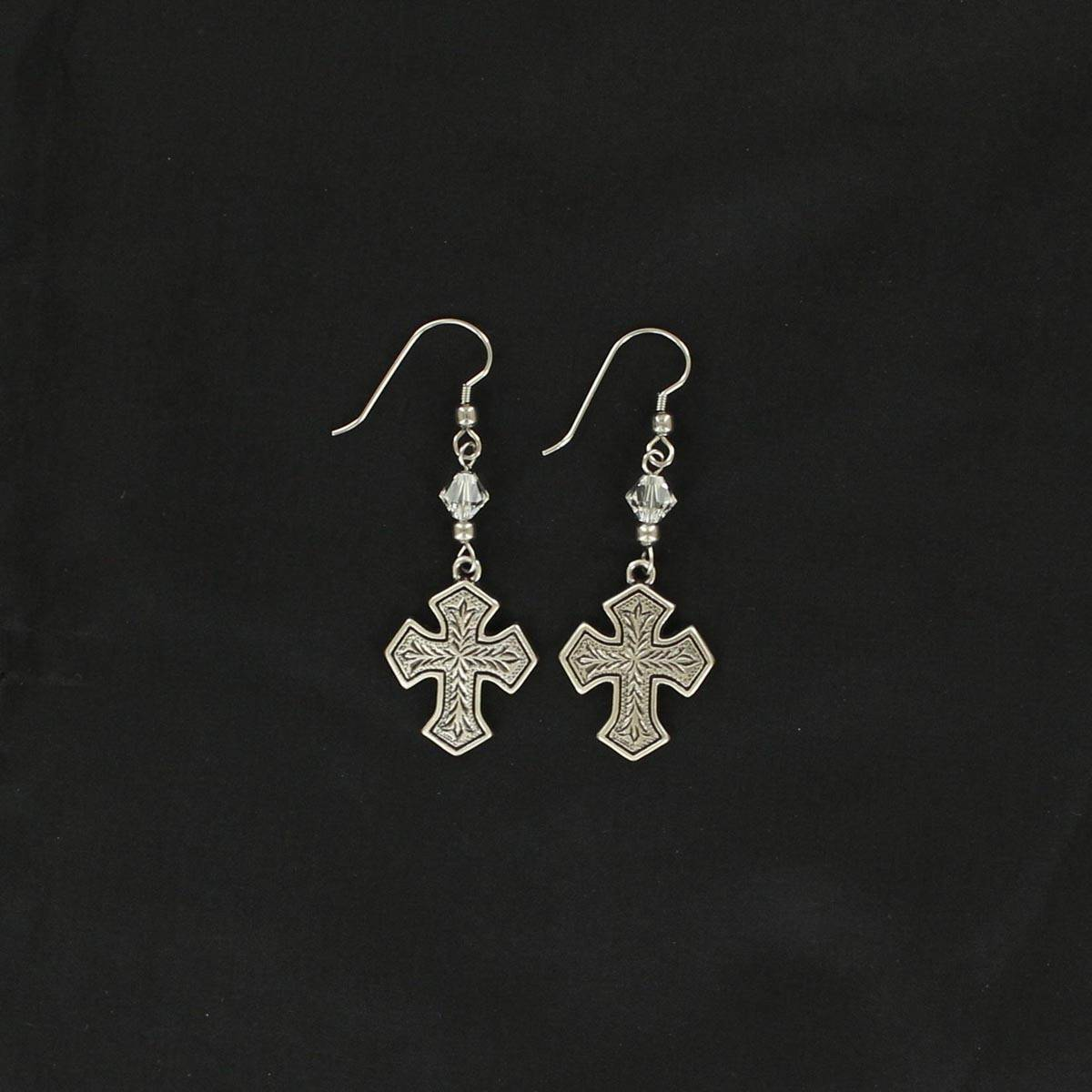 Lightning Ridge Engraved Cross Earrings