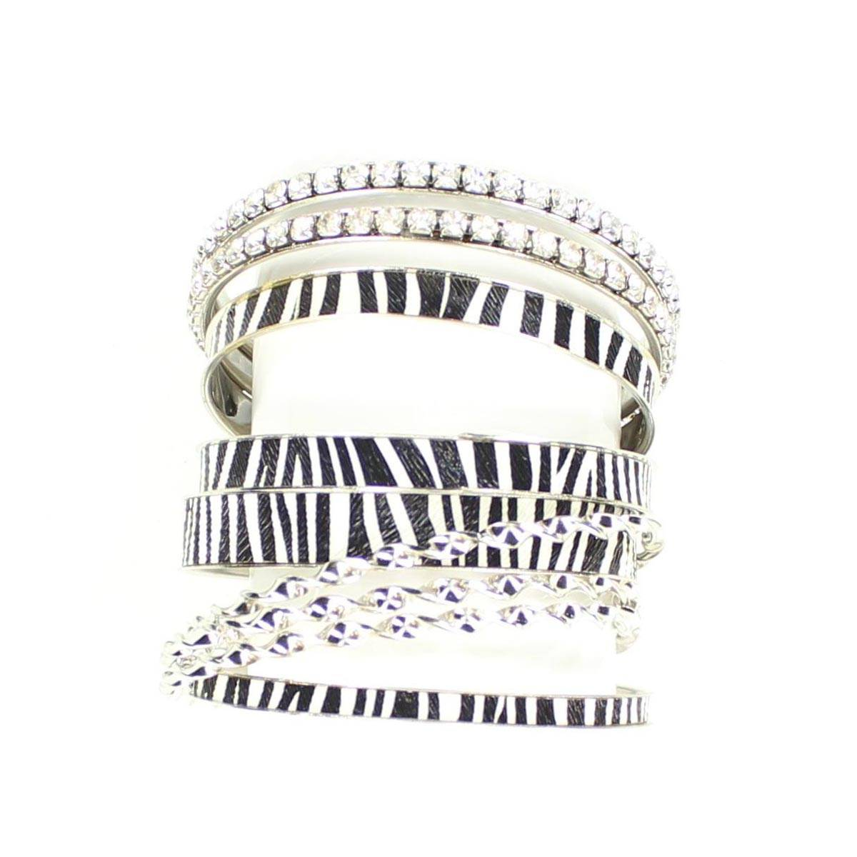 Blazin Roxx 9 Piece Zebra Bangle Set