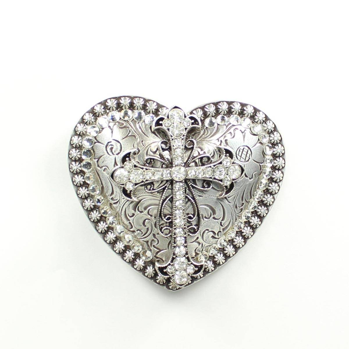 Nocona Ladies' Rhinestone Heart with Cross Buckle