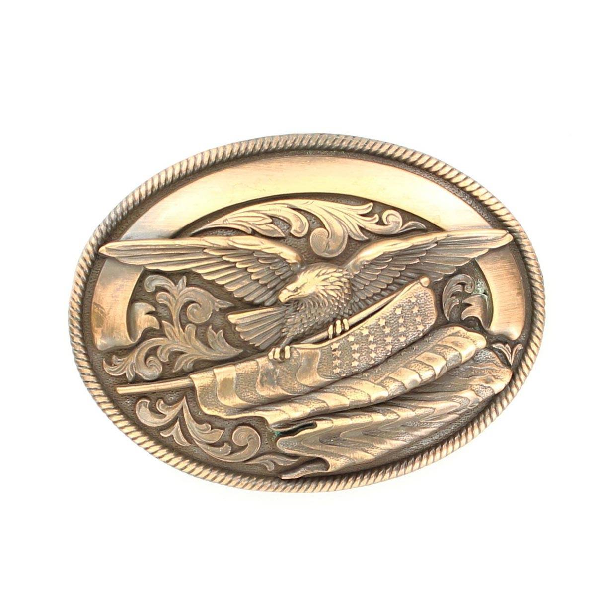 Nocona Oval Eagle Flag Buckle