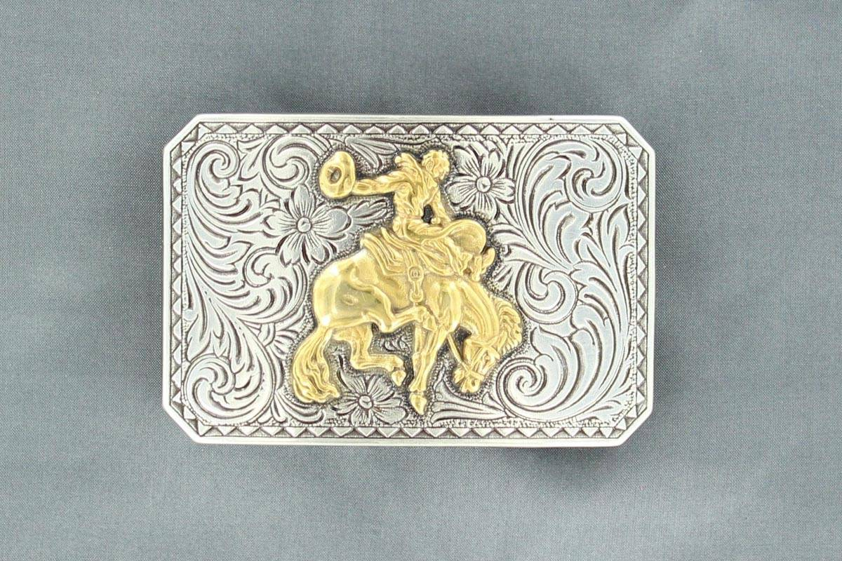 Nocona Rectangle Buck Horse Buckle