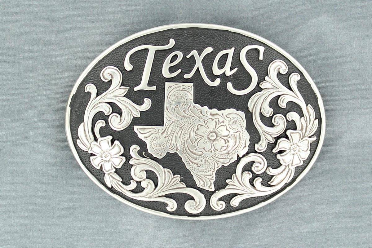 Nocona Oval Texas State Buckle