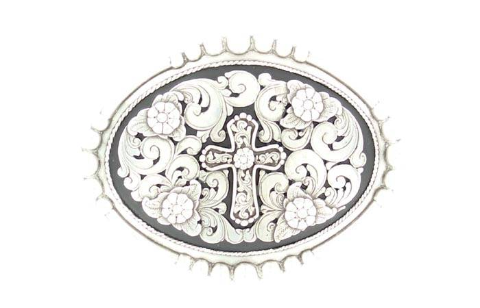 Nocona Oval Cross/Flower Beaded Buckle