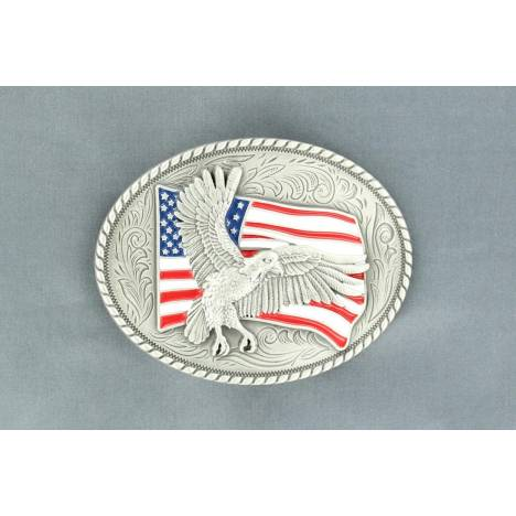 Nocona Oval Eagle/Flag Buckle