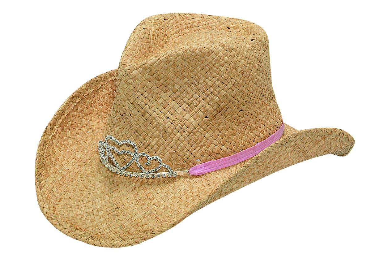 Blazin Roxx Girls Raffia Straw Hat with Tiara
