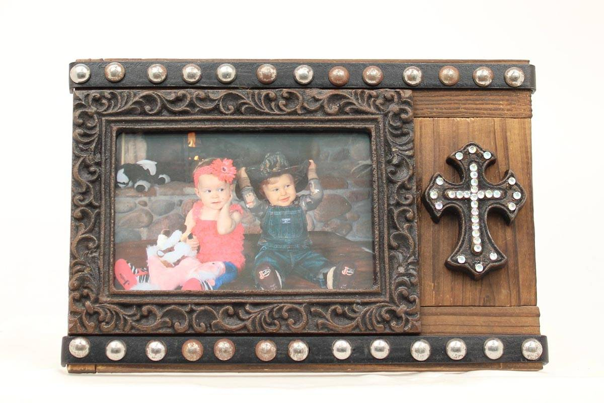 Western Moments Crystal Cross Photo Frame