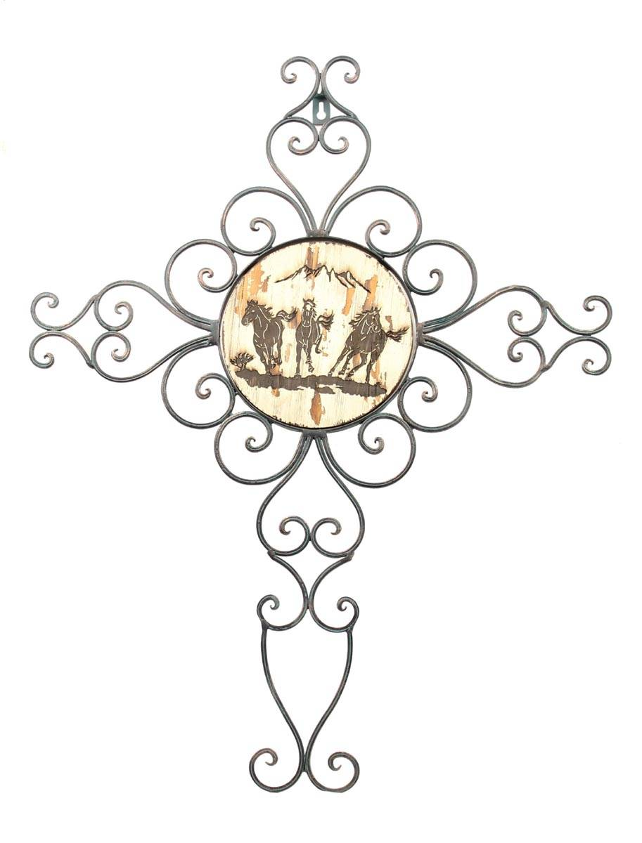 Western Moments Run HorseWire Wall Cross