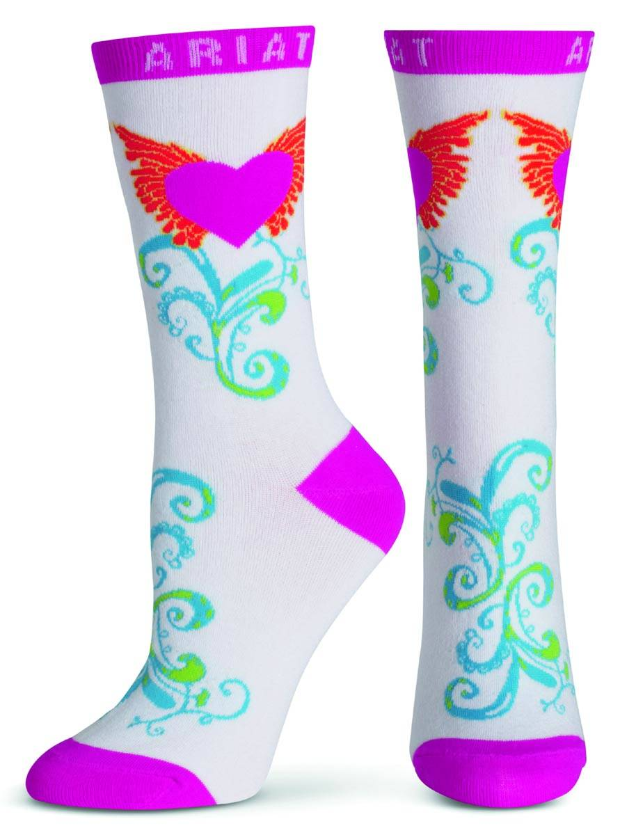 ARIAT Women's Wing Heart Crew Sock