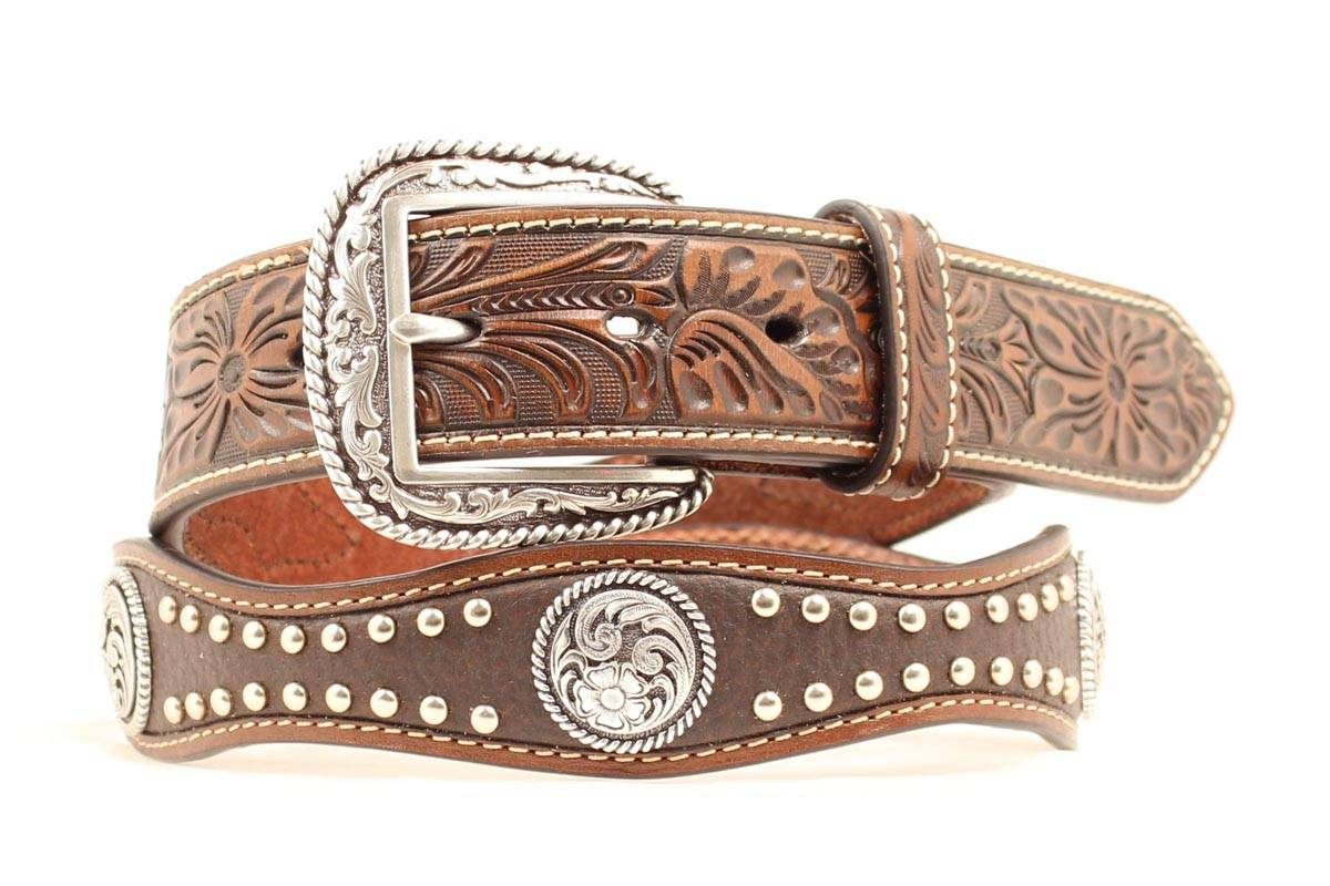ARIAT Men's Scalloped & Studded Concho Belt