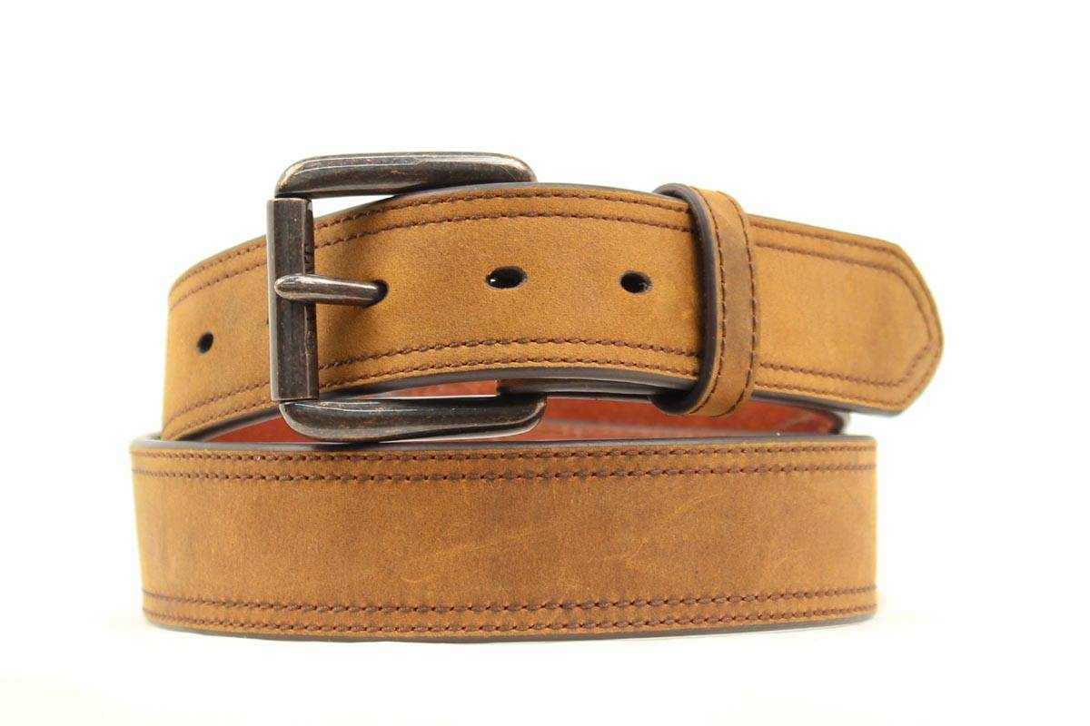 ARIAT Men's Distressed Double Stitch Logo Belt