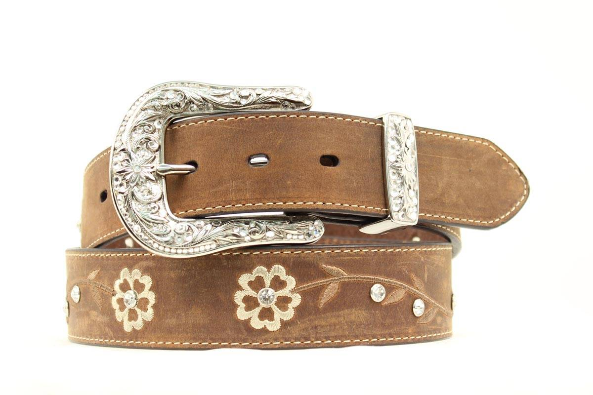 ARIAT Embroidered Scrolling Flowers & Crystals Scalloped Belt