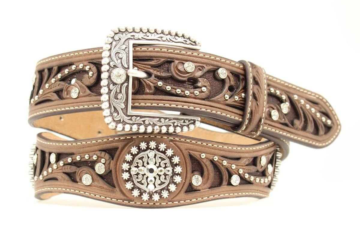 ARIAT Scrolled Inlay Scalloped Crystal Belt